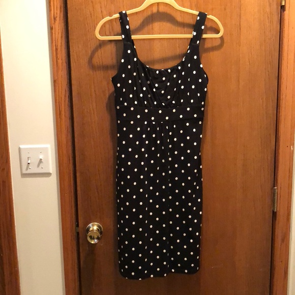 Ann taylor polka dot dress navy maxi
